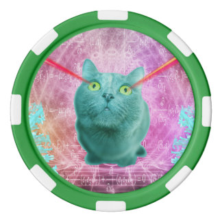 Cat with laser eyes poker chips set