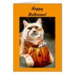 Cat with Mouse in Pumpkin Happy Halloween! Note Card