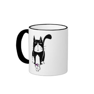 Cat with Mouse Present Ringer Mug