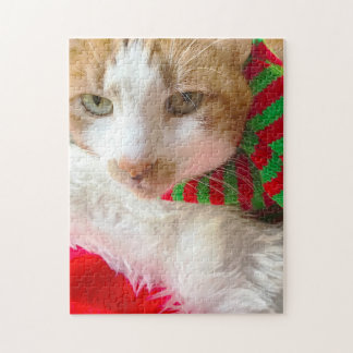 Cat with muffler and Santa hat Jigsaw Puzzle