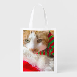 Cat with muffler and Santa hat Reusable Grocery Bag