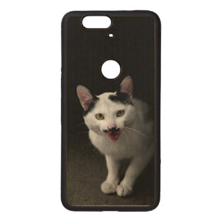 Cat with Mustache Wood Nexus 6P Case