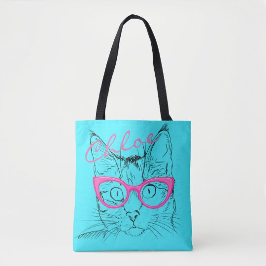 Cat With Pink Glasses Retro Blue Name Tote