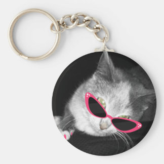 Cat With Pink Sunglasses & Claws Keychain