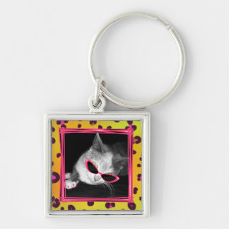 Cat With Pink Sunglasses & Claws Leopard Keychain