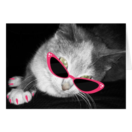 Cat With Pink Sunglasses & Claws Notecard