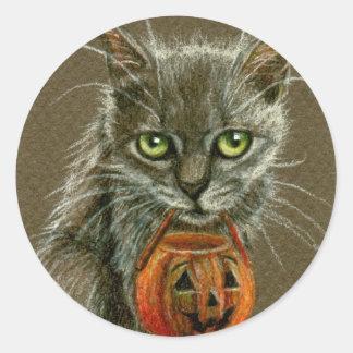 Cat with Pumpkin Basket Halloween Stickers