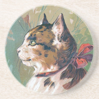Cat with Red Ribbon Vintage Illustration Drink Coaster