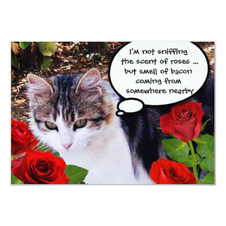 CAT WITH RED ROSES BACON BRUNCH PARTY 9 CM X 13 CM INVITATION CARD