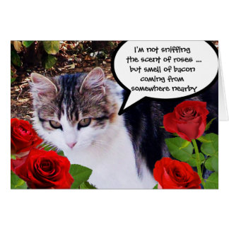 CAT WITH RED ROSES GREETING CARD