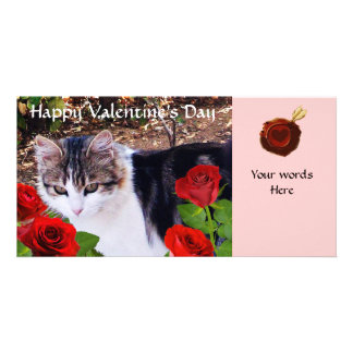 CAT WITH RED ROSES PHOTO CARDS