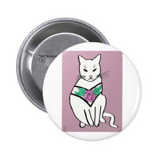 Cat with Rose Collar 6 Cm Round Badge