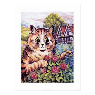 Cat with Roses, Louis Wain Postcard