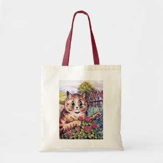 Cat with Roses, Louis Wain Tote Bag