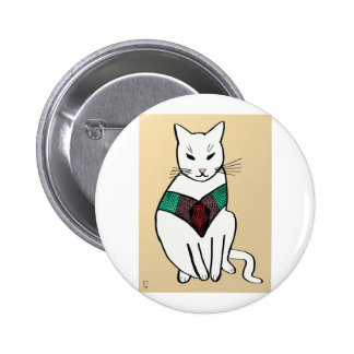 Cat with Ruby Collar 6 Cm Round Badge