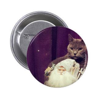 cat with santa claus 6 cm round badge