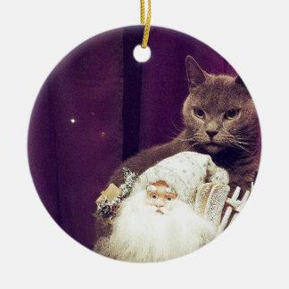 cat with santa claus round ceramic decoration