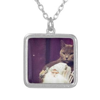 cat with santa claus square pendant necklace