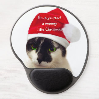 Cat with Santa's Hat Gel Mouse Pad