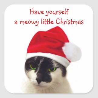 Cat with Santa's Hat Square Sticker