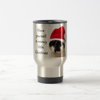 Cat with Santa's Hat Travel Mug