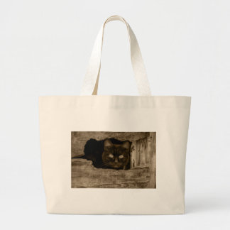 Cat with target eyes large tote bag