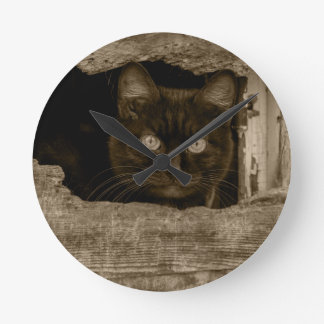 Cat with target eyes wallclocks