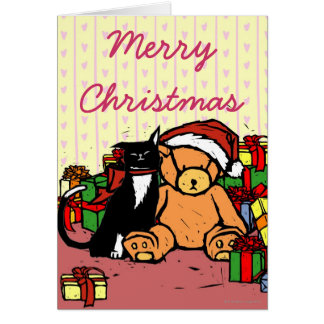Cat with teddy bear near Christmas tree Greeting Card