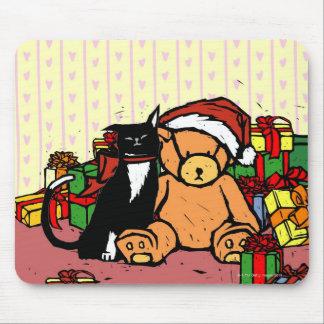 Cat with teddy bear near Christmas tree Mouse Pad