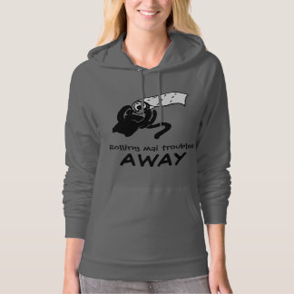 Cat with TP Rolling Mai Troubles Away Gray Hoodie