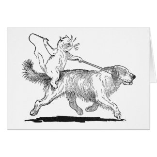 Cat With Trusty Dog Steed Greeting Card