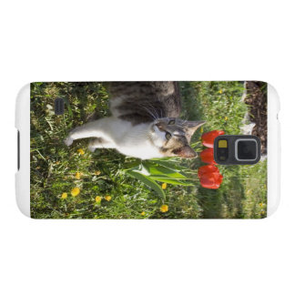 Cat With Tulips Galaxy S5 Cover