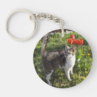 Cat With Tulips Key Ring