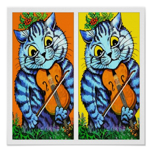 Cat With Violin by Louis Wain Poster