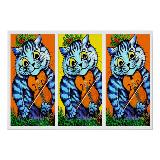 Cat With Violin by Louis Wain Posters