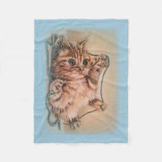Cat with Yarn Drawing of Pet Portrait Fleece Blanket