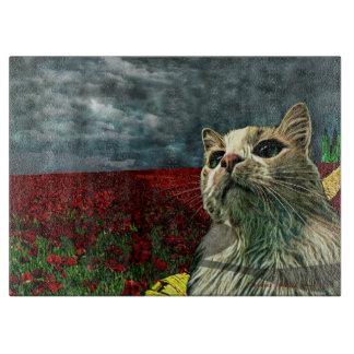 """Cat """"Wizard of Oz"""" Baum Humor Glass Cutting Board"""