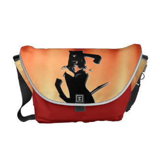 Cat woman silhouette messenger bags