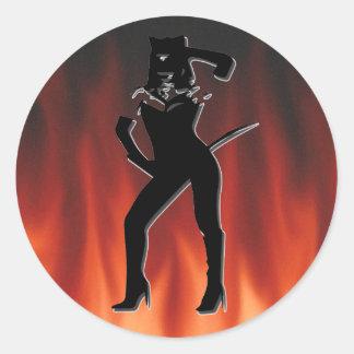 Cat woman silhouette round sticker