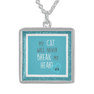 Cat Won't Break My Heart Sterling Square Necklace