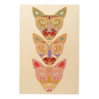 Cat Wood Wall Art Wood Canvases