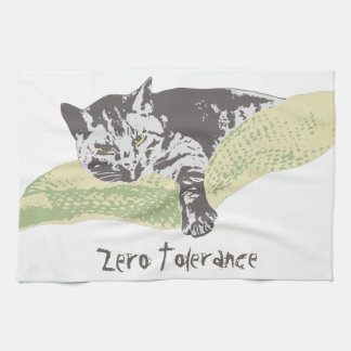 Cat Zero Tolerance Tea Towel