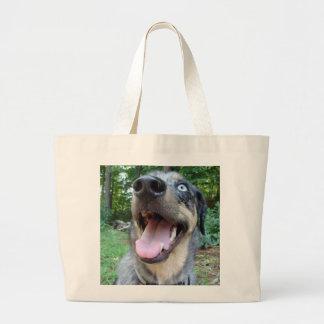 Catahoula Leopard Dog Face Large Tote Bag