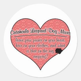 Catahoula Leopard Dog Mixes Paw Prints Dog Humour Round Sticker