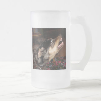 Catahoula Leopard Dog Showing Teeth Frosted Glass Mug