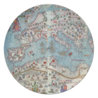 Catalan Atlas: Detail of North Africa and Europe, Dinner Plates