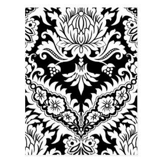 CATALINA DAMASK in WHITE on BLACK Postcard