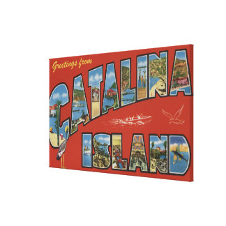 Catalina Island, California - Large Letter Scene Canvas Print