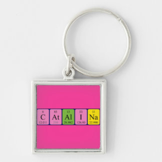 Catalina periodic table name keyring Silver-Colored square key ring