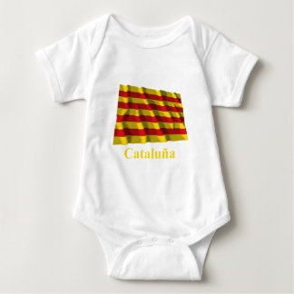 Cataluña waving flag with name baby bodysuit
